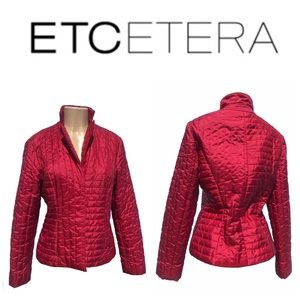 Women's Etcetera Quilted Red Snap Front Tailored